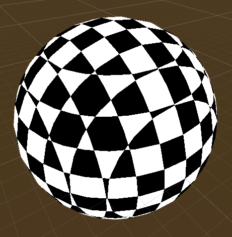 checkerboard pattern on a sphere