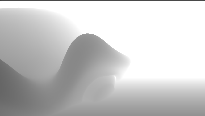 a image where close objects are dark and then quickly fall off to white as theyre further away, most of the image is plain white