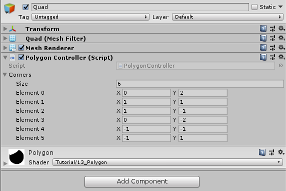 unity inspector where we can see the corner array