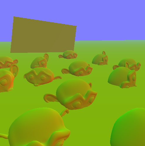 a image where we can see depth and normals, but they are encoded so it looks kinda matte